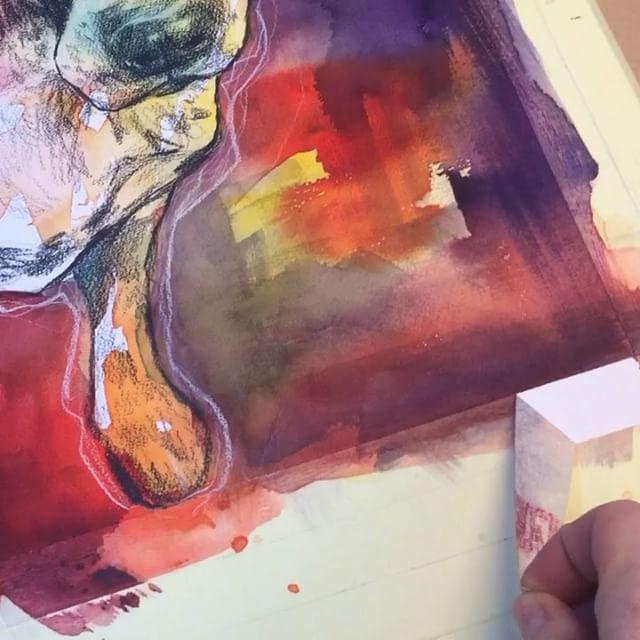 The best part of the process: Removing masking tape (sound!). #watercolor #maskingtape #worksonpaper #dog #illustration #art #kunst #akvarell #drawing #gunillaholmplatou #colorful #coloredpencil