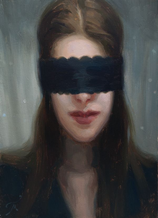 """""""Veiled"""" by Athanasios Deshields (oil painting, alla prima, fine art, traditional, portrait, illustration)"""
