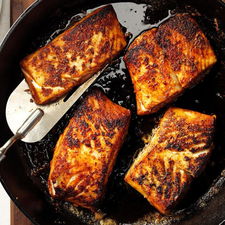 Blackened Halibut Recipe -Try serving the spicy fillets with garlic mashed potatoes, hot, crusty bread and a crisp salad to lure in your crew. This is what my family eats when we want to celebrate. —Brenda Williams, Santa Maria, California