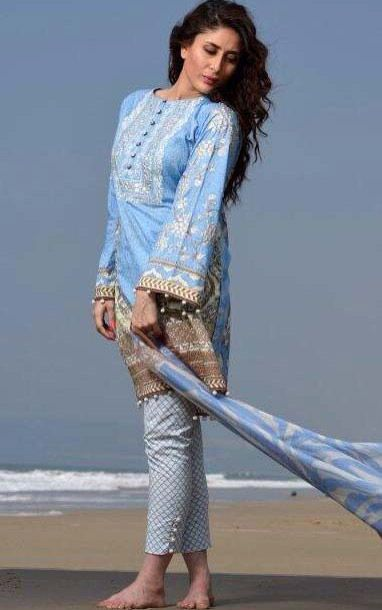Buy Sky Blue Embroidered Cotton Lawn Dress by Cresent Lawn 2015 Collection.