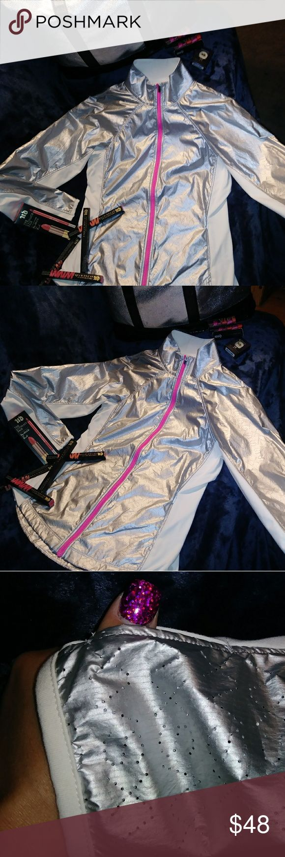 Pink victorias secret vsx sexy sport bling jacket Flawless! Shiny Silver w/ white stretchy material hugs & holds you in where need be and yet still accentuates the curves. Size XS but fits up to a small even a medium because of the stretch Factor. Pink side and back zippers. Long sleeves w thumbholes. Grab it quick gals before i give it as a gift to my half sister for christmas. She like I just adore it. #glamorous   *I do love a good ole fashion Offer. so just ask me any Q's you have. Show…