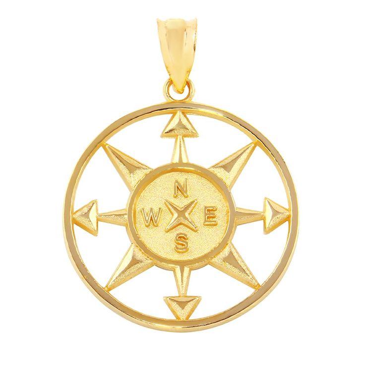 Fine 14k Yellow Gold Compass Navigation Round Pendant