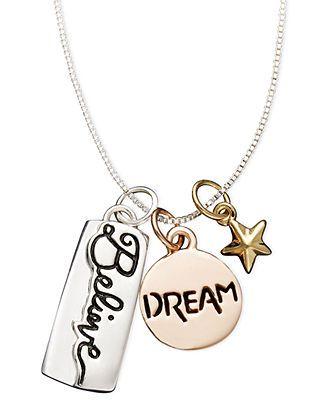 Inspirational Sterling Silver Pendant, Dream and Believe Charm