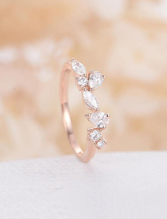 Moissanite Wedding Band Rose Gold Vintage Bridal Art Deco Unique