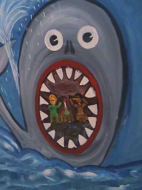 """""""Pinocchio nella balena"""" disegno dell'attore scultore e pittore viareggino Jacopo Gori."""