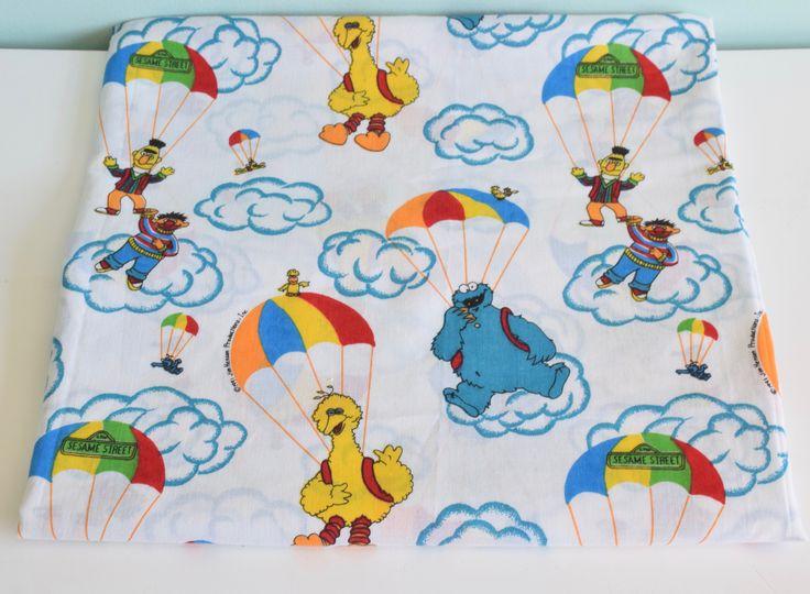Vintage Twin Flat sheet  Sesame Street, Big Bird, Cookie Monster, Bert and Ernie, kids bedding, vintage sesame street by shelfLifeVintage on Etsy https://www.etsy.com/ca/listing/516033750/vintage-twin-flat-sheet-sesame-street