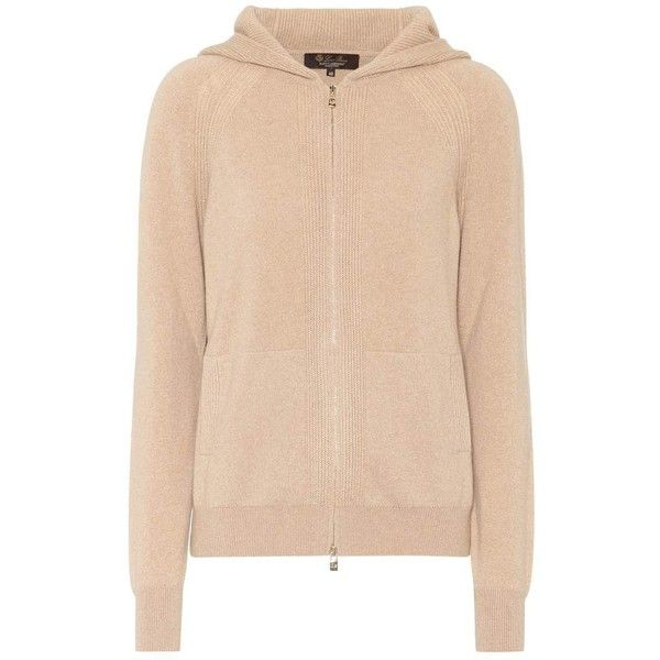 Loro Piana Bomber Baby Cashmere Hoodie ($1,790) ❤ liked on Polyvore featuring tops, hoodies, beige, cashmere top, beige hoodie, hooded pullover, cashmere hoodies and hooded sweatshirt