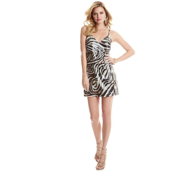 GUESS by Marciano Adra Dress ($95) ❤ liked on Polyvore featuring dresses, white party dresses, white dress, white going out dresses, white animal print dress and shimmer dress