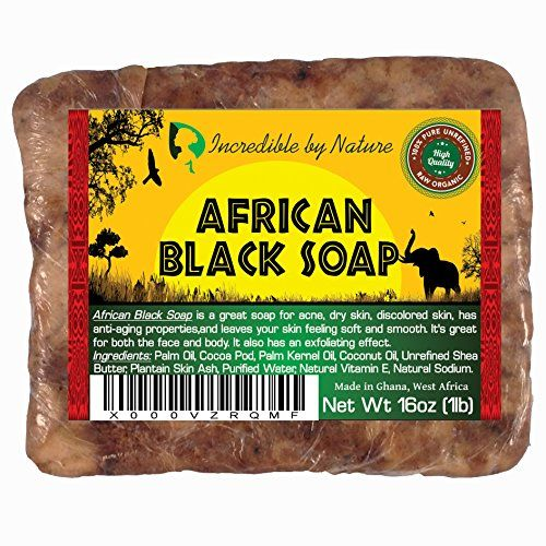 #1 Best African Black Soap - Raw Organic Soap For Acne, Eczema, Dry Skin, Psoriasis, Scar Removal, Face and Body Wash, Authentic 1lb (16oz) Beauty Bar From Ghana West Africa - Incredible By Nature  //Price: $ & FREE Shipping //     #hair #curles #style #haircare #shampoo #makeup #elixir