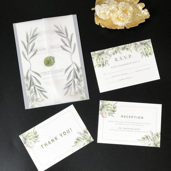 Greenery Wedding Invitations With Vellum Envelope With Free