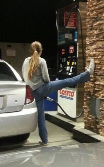 Find Gas Station >> Fill Her Up - Girl Gets Gas at Gas Station Pump with Split - Long Hose Photobomb | Fails ...