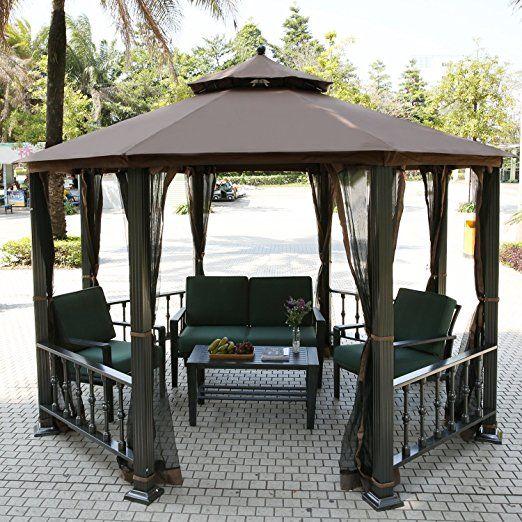 Teamyy Aluminium Garten Pavillon Gazebo Überdachung Pavillion Partyzelt Terrasse Möbel.  Material: 10% Stoff, 45% Eisen, 40% Aluminium, 5% Plastik Paket-Gewicht: 84.5kg / 186lb Paket-Größe: 216x76x41cm / 84 x 29,6 x 16 Zoll Dachhöhe : 9.6ft Mesh-Bildschirm mit Reißverschluss geschlossen Vollständig geschlossene Fehler Bildschirm halten Sie von Stechmücken und fügen Sie mehr Privatsphäre UV behandelt Polyester oben für einen dauerhaften Schatten, Schutz vor der Sonne und regen Ideal für…