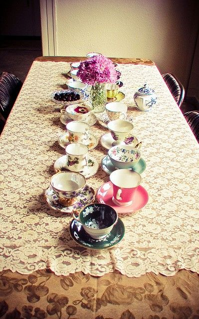 LOVE the idea of mix and match tea cups! Much cheaper than buying a whole set! Just find random pieces and throw them together into one eclectic set :)
