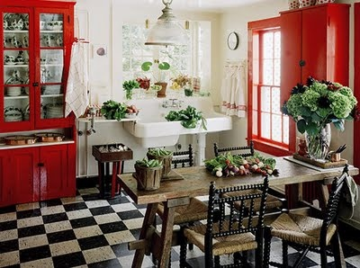 Lovin' the sinkCottages Kitchens, Dreams Kitchens,  Eating House'S, Black And White, Black White, Red Kitchens, Country Kitchens, White Kitchens, Red Black