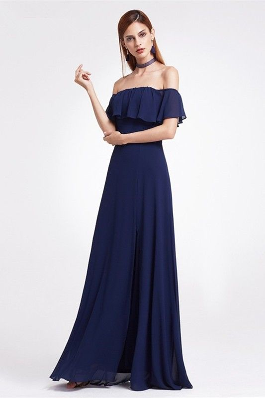 d845c340361a Sexy Off The Shoulder Side Slit Ruched Navy Blue Chiffon A Line Prom  Evening Dress