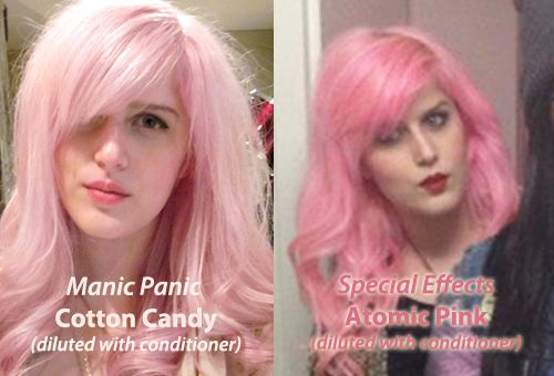 manic panic cotton candy pink diluted - Google Search why would u add conditioner to the manic panic? Its already a pastel color?