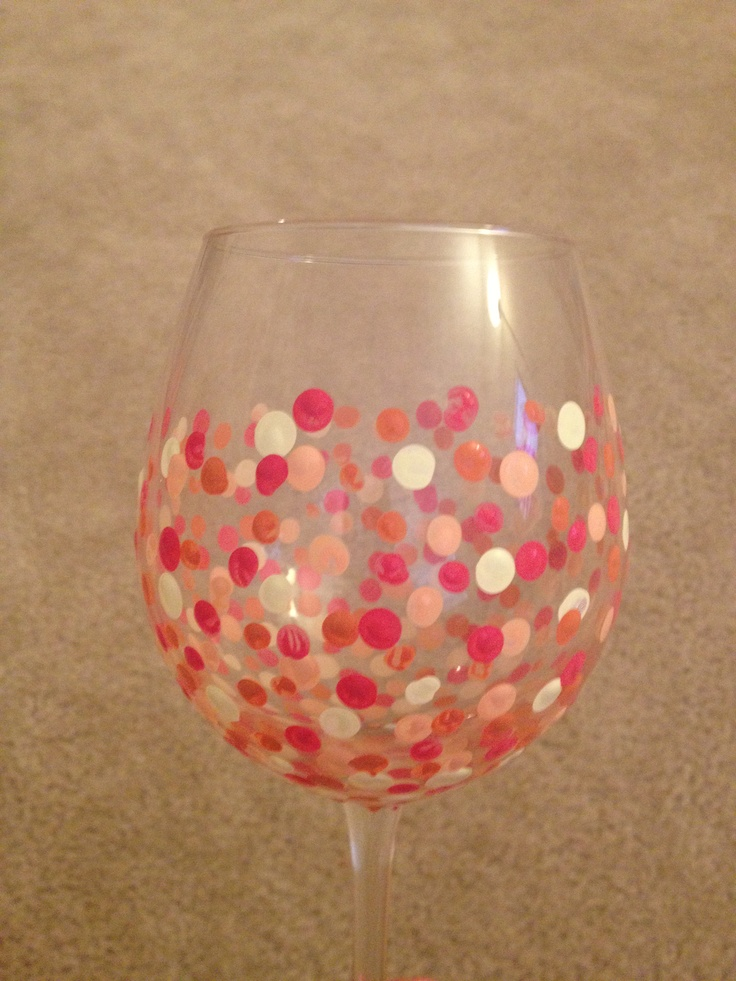 Diy wine glasses with pencil erasers buy acrylic paint i for Acrylic paint on wine glasses