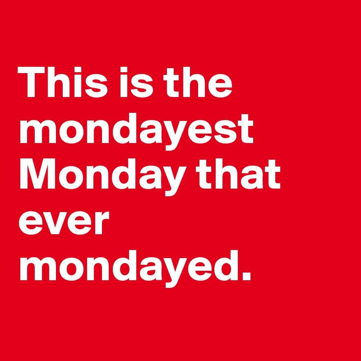 This is the mondayest Monday that ever mondayed.