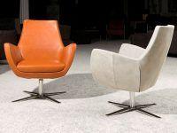 Moderne lederen fauteuil Patty in stonewash leder cognac.