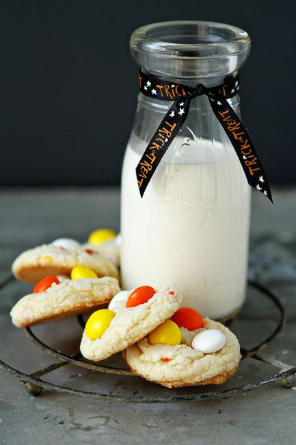 Cake Mix Cookies with Candy Corn M from MyBakingAddiction.com #recipe #cookies