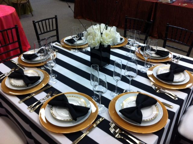 Black chiavari chairs black & white stripe linen gold