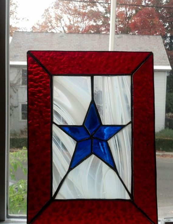 Military Mom's Star Stained Glass Panel by EuphoricGlass90 on Etsy, $60.00