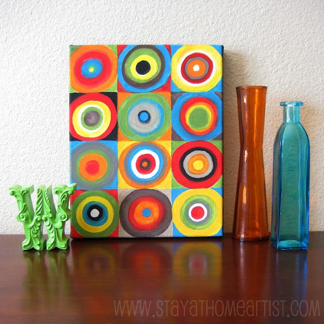 Concentric Circle Art - easy. I LOVE the painting with the colored glass!