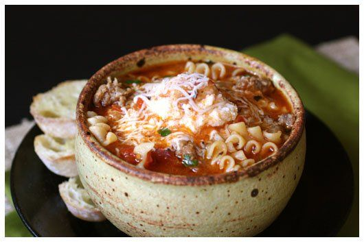 Transform lasagna into a savory soup that still has all the tasty ingredients. A Farm Girl's Dabbles shares a recipe for lasagna soup that will have the whole family licking the bowl clean. Serve with a big, green salad and slices of French bread. Source: A Farm Girl's Dabbles