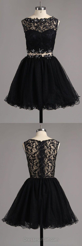 Lace Prom Dress, Short Prom Dresses, Black Homecoming Dress, Tulle Homecoming Dresses, Aline Cocktail Dress