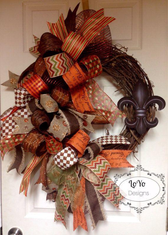 Best 25 Fall Ribbon Wreath Ideas On Pinterest Burlap