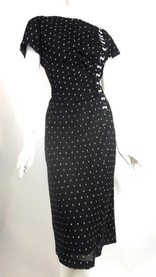 Dorothea's Closet #Vintage #1950s dress, pleated black nylon