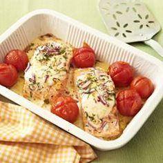 Zalmfilet met mozzarella en tomaatjes uit de oven