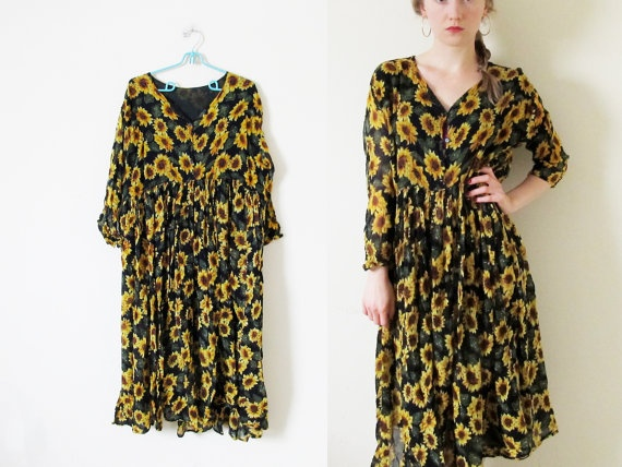 vintage 1990s Dress // Sunflower Print // by diaphanousvintage