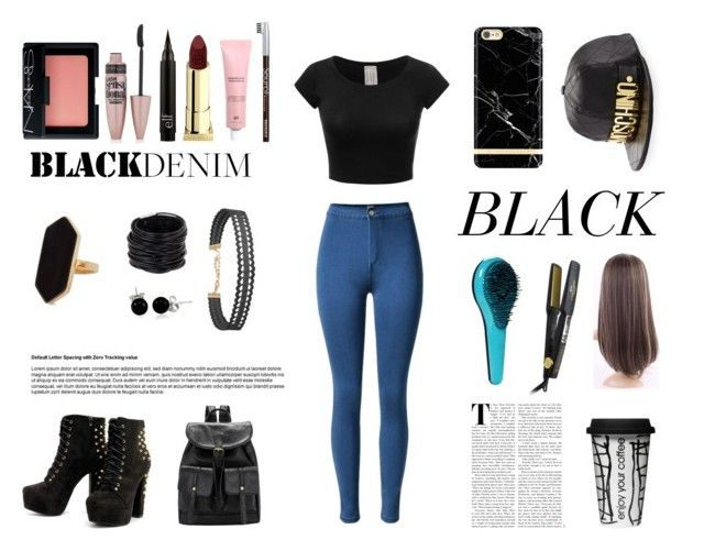 """""""Sin título #28"""" by daaniellestarling on Polyvore featuring moda, NARS Cosmetics, Maybelline, Lipstick Queen, Jaeger, Saachi, Bling Jewelry, Humble Chic, Richmond & Finch y Moschino"""