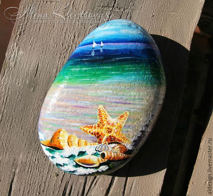 Купить Чёрное море после грозы. - роспись по камню, натуральные камни, сувениры и подарки, сувенир