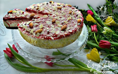 Миндальный торт с малиной | Кулинарные рецепты от «Едим дома!»
