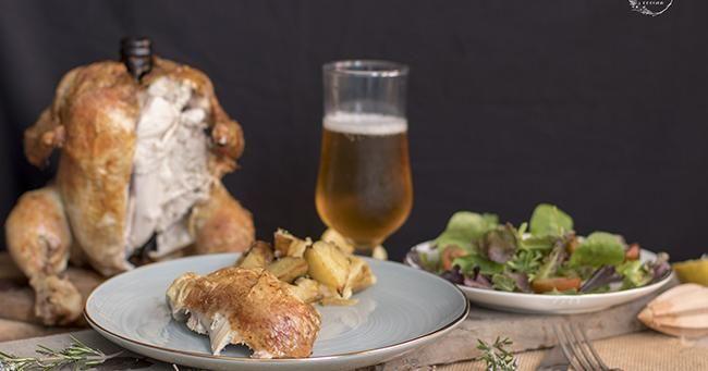 Pollo sentado a la cerveza