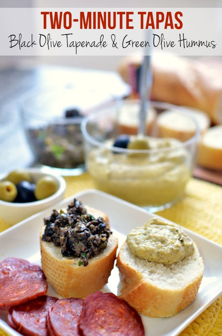 Olive Tapas Recipes made with Olives from Spain - Black Olive Tapenade & Green Olive Hummus