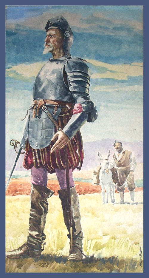 "Don Quixote - Miguel de Cervantes Saavedra (Original) (Signed) art by Alvaro Artist: Alvaro (biography) Medium: Watercolour on Board Size: 9"" x 19"" (240mm x 480mm) Date: 1963"
