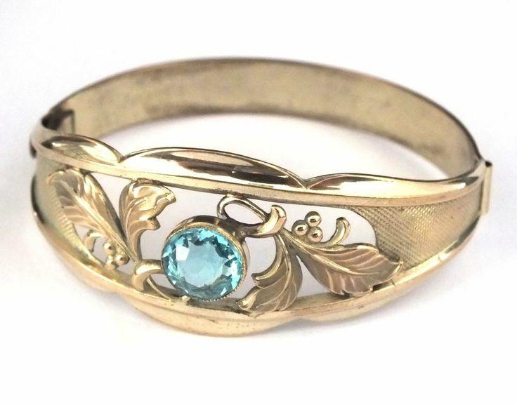 um 1930: Armreif aus Messing mit Strass - Gablonz/Böhmen - sc257 | Vintage Bohemian Brass Bracelet with Rhinestone