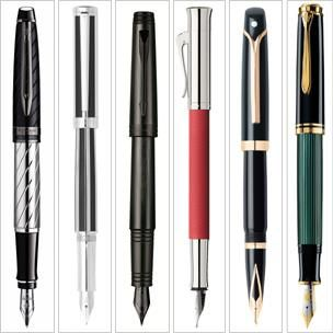 Waterman (1) Sheaffer (2) Parker (3) Faber-Castell (4) Sheaffer (5) Pelikan (6)