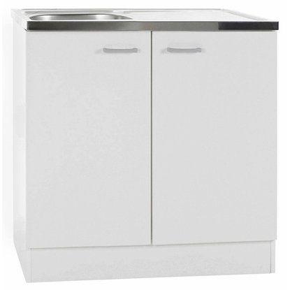 Spülenunterschrank Klassik 60 Weiß mit Arbeitsplatte 80 cm