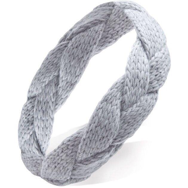 Gray Braided Cableknit Head Wrap Headband Turban   – Products