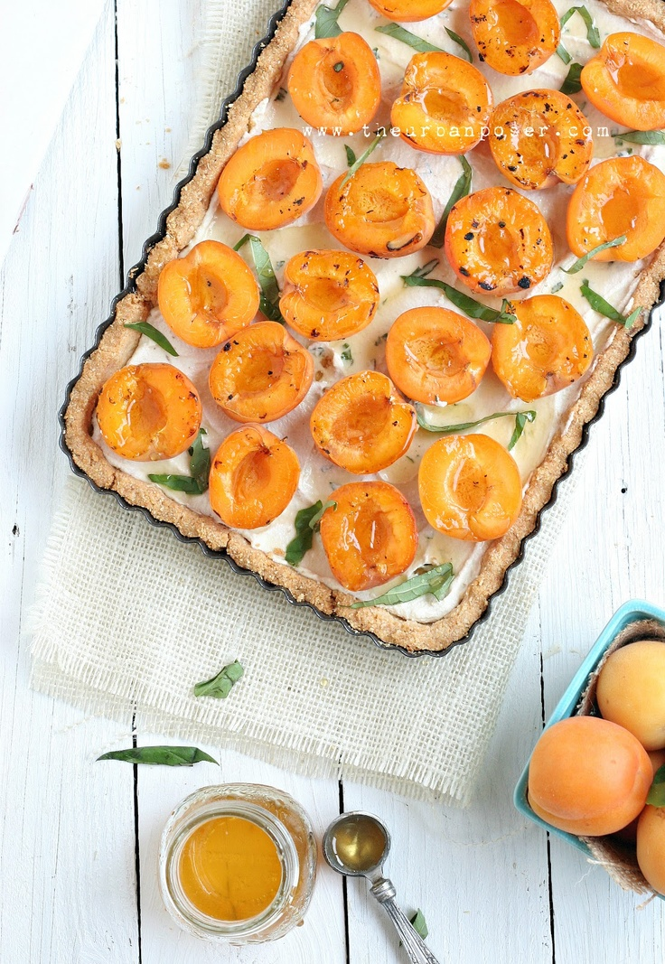 Grilled Apricot & Basil Tart W/Cashew Sour Cream & Basil Infused Honey Syrup (Grain/Dairy/Egg Free)