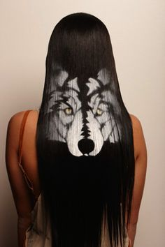Large Wolf hair stencil. Wow!