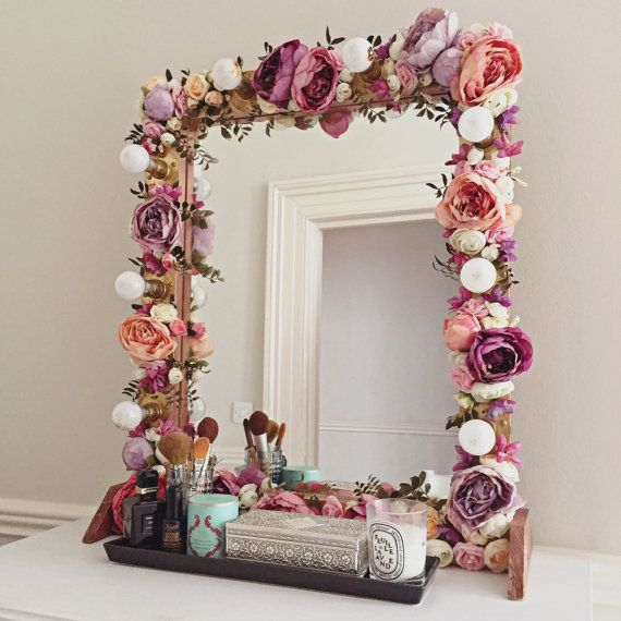 Floral Makeup Mirror with Silk Flowers by WedheadDecor on Etsy