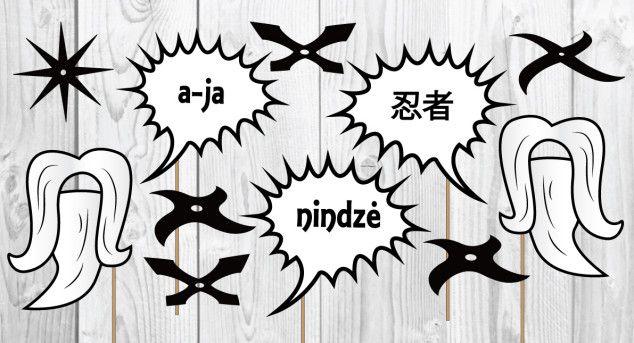 Nindzių foto atributika | Šventės idėja Ninja photo props