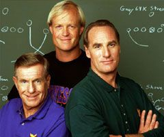 Coach. 1989, 9 seasons. Starring Craig T. Nelson (right), Jerry Van Dyke (left), and Bill Fagerbakke (middle). Other characters came and went. I'm not a sports fan and I still liked this show. https://en.m.wikipedia.org/wiki/Coach_(TV_series). http://www.watchonline-series.com/serie/coach-3109.html