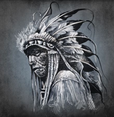 Tattoo arte, ritratto di testa di indiano americano su sfondo scuro