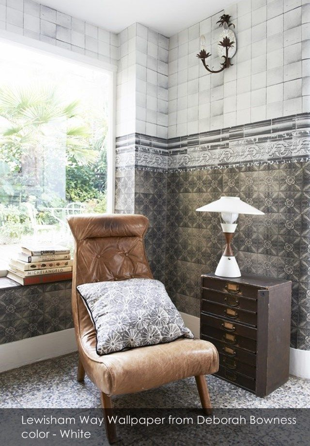 New Cross Tiles - Lewisham Way wallpaper from Deborah Bowness in White